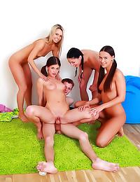 Naked girls watch him fuck ho...