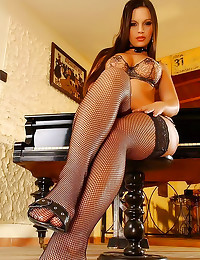 Hot feet in fishnet stockings