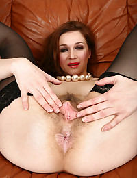Roberta the mature gal has a hairy pussy for display.