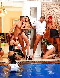 Euro pool party turns to orgy
