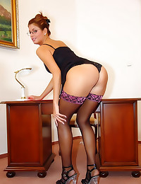 Office girl in striped stockings