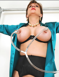 Suction cups on milf titties