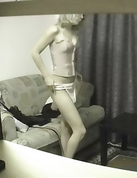 Hidden cam of girl dressing