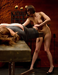 Sexy mistress and her bound submissive