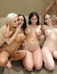 Four pornstar beauties fucked
