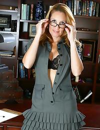 Office mature in hot striptea...