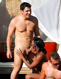 Hot sluts in poolside orgy