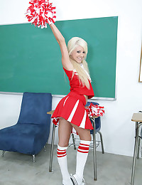 Perky cheerleader chick