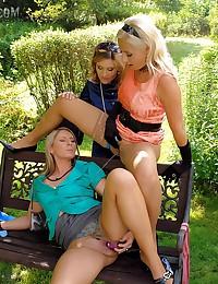 Lesbian pissing trio
