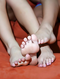 Cute chick foot tease and strapon