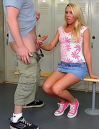 Blonde strokes dick in locker...
