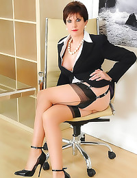 Seamed stockings on beautiful milf