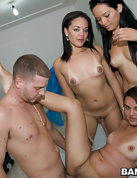 Three Latina Chickas Sharing Cock