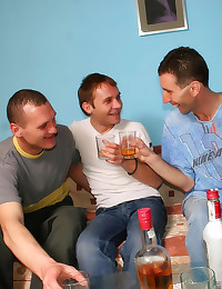 Drunk guys gay sex party