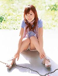 Japanese bikini girl outdoors