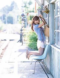 Japanese bikini girl outdoors