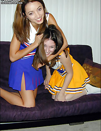 Sweet Devon - Two slutty cheerleader bitches making out on the sofa