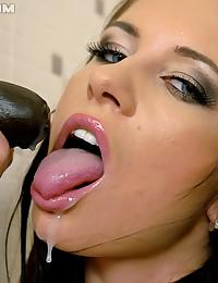 Insanely horny brunette slimeslut pussy playing