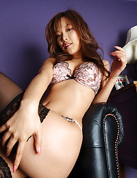 Asian in stockings and boots