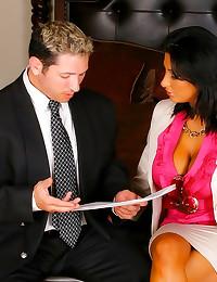 Hottie in pink blouse laid lu...