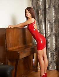 Red latex sexy dress