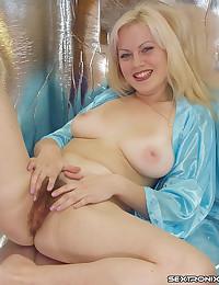 Satin robe on pussy model