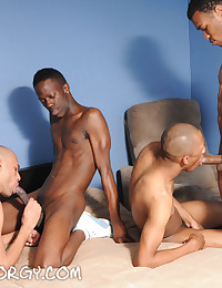 If it's a conga-line of black cock-sucking you're after, look no further than this hot gang bed video with five very fine studs going at it on the bed. After that buffet of fellatio is over it's over to some hard-hitting anal action and a spit roasting th