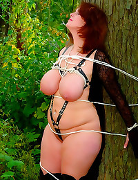 Chubby milf tied to a tree