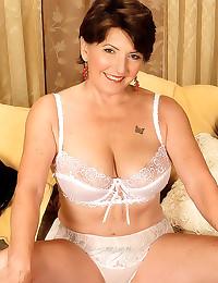 White bra on busty granny