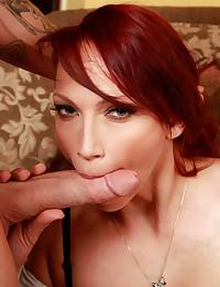 Horny redhead takes dick
