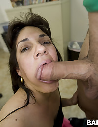 Older babe taking a big cock