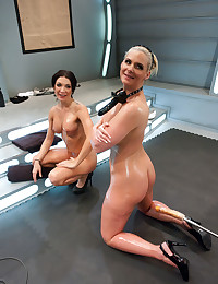 Oiled girls like toy sex