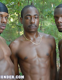 This threesome of black hotties get all sorts of frisky in the outdoors for this video. Stripping off and showing off those ripped bodies, they're soon engaging in some mutual sucking and rimming to get the party started. Then it's over to a standing spit