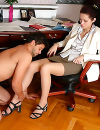 Office girl spanks his ass