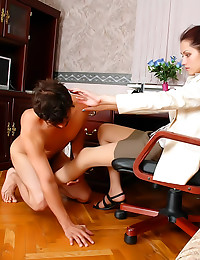 Office girl spanks his ass