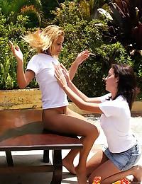 Two horny lesbian sluts enjoying deranged fisting outdoors