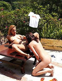 Two horny lesbian sluts enjoying deranged fisting outdoors