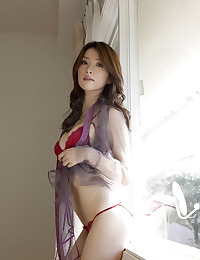 Sexy red bra on a beauty