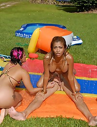 Latina threesome outdoors in water