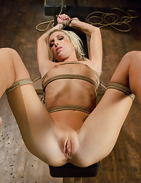 Hogtied Blonde Enjoys Toys And Cock
