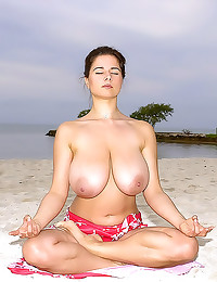 Huge tits hairy girl on beach