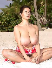 Huge tits hairy girl on beach