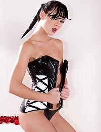 Black latex lingerie slut