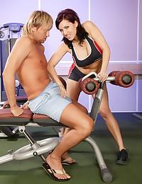 Horny gymteacher banging a hot cutie anally