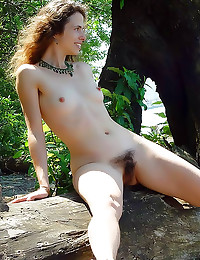 Hairy chick poses outdoors