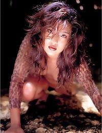 Hot posing with Japanese godd...