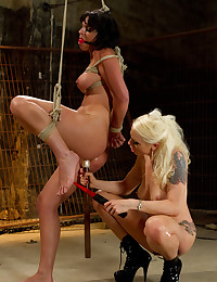 Blonde mistress dominates submissive