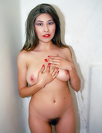 Solo hairy pussy girl showers