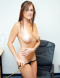 Milf in the office gets nude