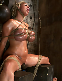 Huge tits girl tied up